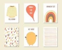 Gullig hand dragen klotterbaby shower, födelsedag, partikort Fotografering för Bildbyråer