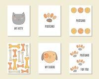 Gullig hand dragen klotterfödelsedag, parti, baby showerkort vektor illustrationer