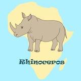 Gullig hand dragen noshörning Royaltyfri Fotografi