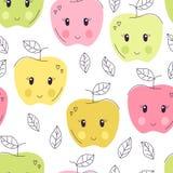 Gullig hand dragen sömlös modell för äpple Söt matvektorbakgrund Läcker sommardesign Inpackning tryck royaltyfri illustrationer