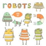 Gullig hand dragen samling för robotar för klotterångapunkrock Fotografering för Bildbyråer