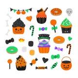 Gullig hand dragen uppsättning för illustration för halloween godisvektor vektor illustrationer