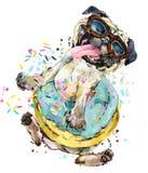 Gullig hand-dragen vattenfärgillustration för liten hund stock illustrationer