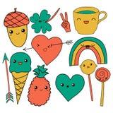 Gullig hand dragit kaffe för illustration för klottersamlingsvektor, pil, glass, hjärta, regnbåge, växt av släktet Trifolium, för Royaltyfria Bilder