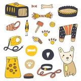Gullig hand dragit klotterhundmaterial royaltyfri illustrationer