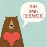 Gullig hand dragit kort för dag för fader` s som roligt tecknad filmtecken av björnen royaltyfri illustrationer