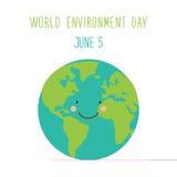 Gullig hand dragit kort för dag för världsmiljö med att le teckenet av planetjorden royaltyfri illustrationer