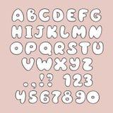 Gullig hand drog alfabet och nummer i vektor Fotografering för Bildbyråer