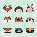 Gullig hand drog Forest Animal Faces Collection royaltyfri illustrationer