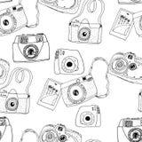 Gullig hand drog gamla och nya kameror Mest bra sommarminnen Arkivbilder