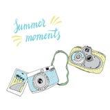 Gullig hand drog gamla och nya kameror Mest bra sommarminnen Royaltyfria Bilder