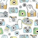 Gullig hand drog gamla och nya kameror Mest bra sommarminnen Arkivbild
