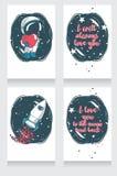 Gullig hand drog kosmiska kort för valentin dag Arkivbilder