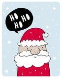 Gullig hand drog Santa Claus Vector Card Älskvärd barn- stilbarnkammarekonst vektor illustrationer