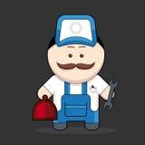 Gullig handyman-mekaniker för tecknad film royaltyfri illustrationer