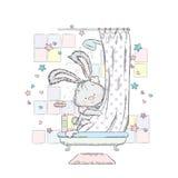Gullig hare i duschen också vektor för coreldrawillustration Kanin badas i badet stock illustrationer