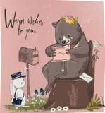 Gullig hare och björn med bokstaven vektor illustrationer