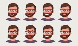 Gullig hipsteraffärsman som visar olika sinnesrörelser Vektorillustration i tecknad filmstil royaltyfri illustrationer
