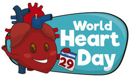 Gullig hjärta med påminnelsedatumet av världshjärtadagen, vektorillustration Royaltyfria Bilder