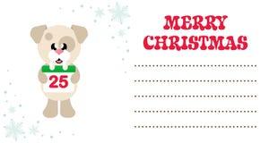 Gullig hund för tecknad film med julkalendern på julkortet stock illustrationer