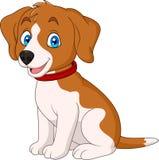 Gullig hund för tecknad film som bär en röd krage royaltyfri illustrationer