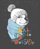 Gullig hund i en hatt och en halsduk stock illustrationer