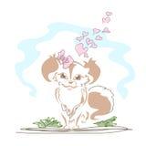 gullig hund little stock illustrationer