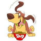 Gullig hund med hans matning Arkivbild