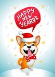 Gullig hund med inskriften för lyckligt nytt år Le den gula hunden med Santa Claus den röda hatten på en blå julbakgrund Royaltyfri Foto