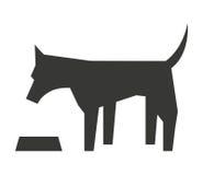 gullig hund med maträtt isolerad symbolsdesign Royaltyfri Bild