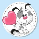 Gullig hund med rosa färgballongen stock illustrationer