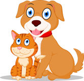 Gullig hund- och katttecknad film Fotografering för Bildbyråer