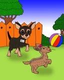 Gullig hund som två spelar en bolltecknad film royaltyfri illustrationer