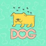 Gullig hundbulldogg för vektor Djurt tecknad filmtecken för rolig karikatyr Färgrikt för kort för kontur plant isolerat ljust hus vektor illustrationer