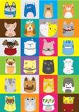 Gullig hundkapplöpning- och kattuppsättning Färgrik modell för vektor av husdjur stock illustrationer