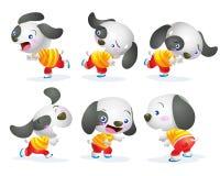 Gullig hundteckenhandling stock illustrationer