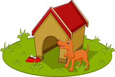 Gullig hundtecknad film med hemmet Vektor Illustrationer