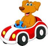 Gullig hundtecknad film som kör bilen Arkivbilder