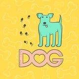 Gullig hundterrier för vektor Djurt tecknad filmtecken för rolig karikatyr Färgrikt för kort för kontur plant isolerat ljust husd vektor illustrationer