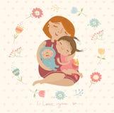Gullig illustration ÑŒom som kramar deras barn Royaltyfri Foto