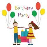 Gullig illustration av barnfödelsedagpartiet Arkivfoton