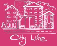 Gullig illustration av stadsliv stock illustrationer
