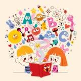 Gullig illustration för begrepp för ungeläsebokutbildning Royaltyfria Bilder