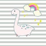 Gullig illustration för dino och regnbågetecknad filmvektor royaltyfri illustrationer