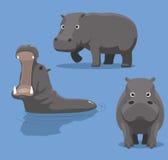 Gullig illustration för flodhästtecknad filmvektor Fotografering för Bildbyråer