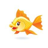 Gullig illustration för guldfisktecknad filmvektor royaltyfri illustrationer