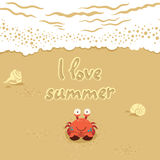 Gullig illustration för vektor av krabban och bokstäver på Royaltyfria Foton