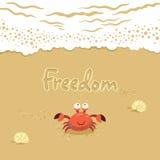 Gullig illustration för vektor av krabban och bokstäver på Fotografering för Bildbyråer