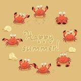 Gullig illustration för vektor av krabbor och bokstäver på Arkivfoto