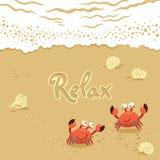 Gullig illustration för vektor av krabbor och bokstäver på Arkivbild